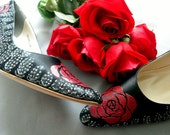 Shoes Wedding tattoo roses pheasant feathers black pumps Red Wine