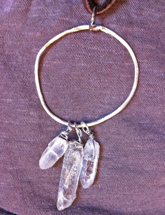 dreamcatcher necklace urban bohemian recycled silver and white quartz milk chocolate deerskin