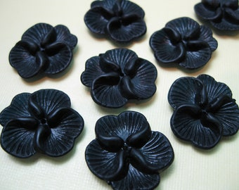 6 Vintage Lucite Black Flower Beads