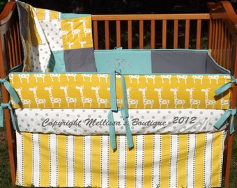Custom Yellow with Grey & Aqua Accent Complete Boutique Crib Nursery Bedding Set with MONOGRAM