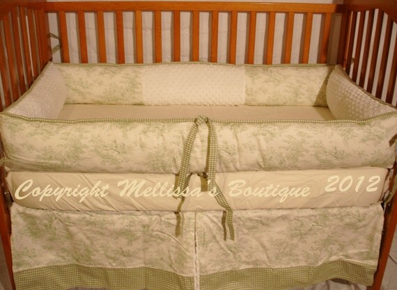 Custom Green & Ivory Central Park Toile/Gingham Neutral Crib Bedding Set with Minky READY to SHIP Right Now SALE