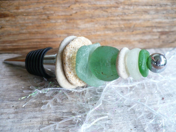 BOTTLE STOPPER...made with beach stones sea glass African glass bead-giftguide-wedding decor