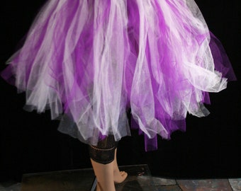Streamer knee length tutu skirt adult purple white halloween dance fairy  -- You Choose Size -- Sisters of the Moon
