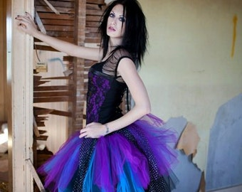 tutu skirt Sparkle motion extra puffy Black Purple and turquoise halloween gothic dance mardi gras --You Choose Size -- Sisters of the Moon