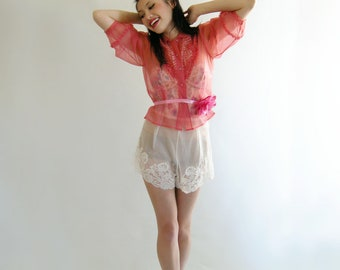 White Vintage 40s Tap Panties Pants by Chevette Size 26 Inch Waist Sheer