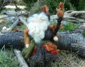 Needle felted Wool Gnome Oak Forest Gnome by Rebecca Varon Waldorf inspired.