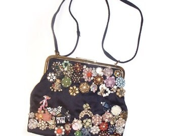 Jeweled Garden Reconstructed Vintage  Evening Handbag