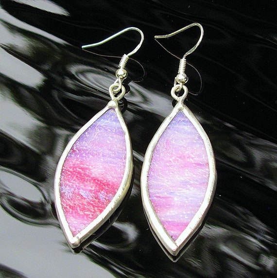 Stained Glass Earrings Pink White Dangling Pointed Oval Clearance Sale