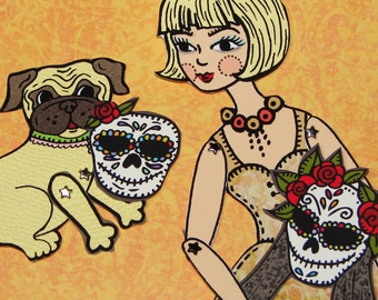 Original Fully Assembled Articutlated Blondie and her pug and their dia-de-los-muertos masks Paper Doll set
