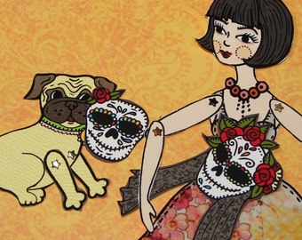 Original Fully Assembled Articutlated Audrey the Brunette and her pug and their dia-de-los-muertos masks Paper Doll set