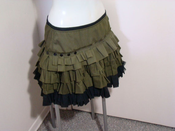 Reserved for Ash - Green and black layers of ruffles SKIRT petticoat tattered ruffles raw edges apocalyptic carnival rag doll
