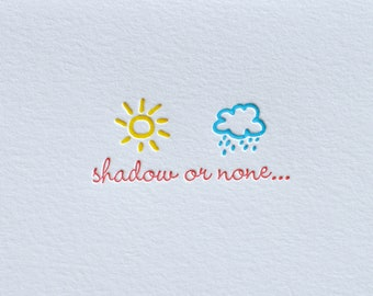 Shadow or None Letterpress Greeting Card with Envelope