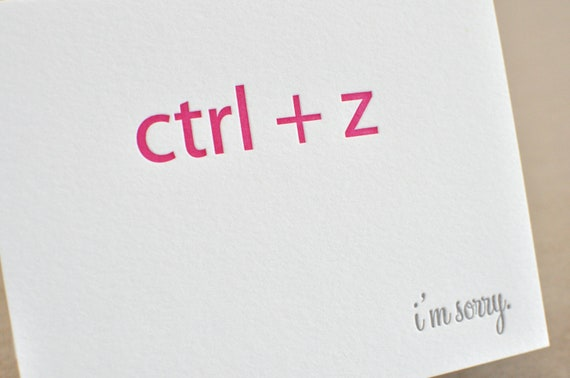 Letterpress 'ctrl z' nerd, I'm Sorry single card with matching envelope