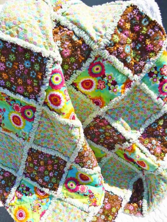 Baby Rag Quilt, Child, Toddler, Butterflies, Flowers, Flannel, Handmade
