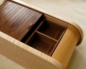 Handmade Curly Maple Black Walnut Wooden Jewelry Box, Beautiful Jewelry Box