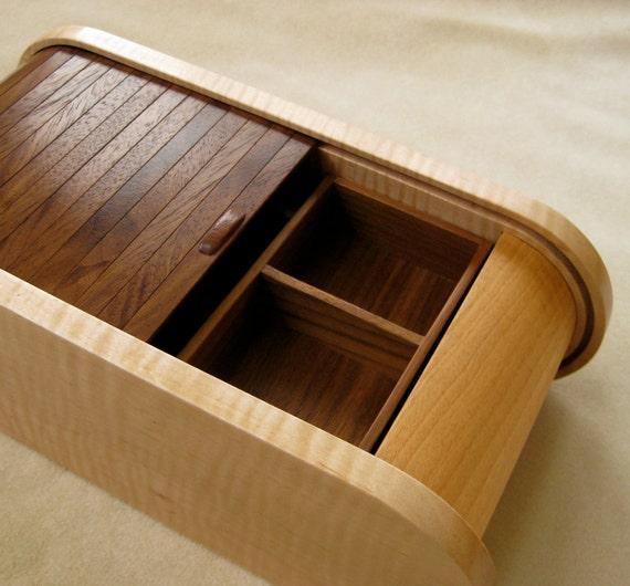 Handmade curly maple black walnut wooden jewelry box for Handmade wooden jewelry box
