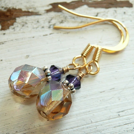 Handcrafted Artisan Purple Lilac and Amber Topaz Czech Glass Swarovski Crystal Sterling Silver Gold Vermeil Bohemian Gypsy  Dangle Earrings