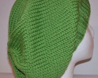 Wool Slouch Hat - Slouchy Knit Beanie - Knitted Dreadlock Beanie - Clover Leaf Green