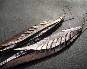 Long Feather Earrings - silver, gold and brown metallics