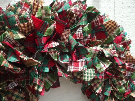 Christmas Lights Rag Wreath Homespun Fabric Red White Bright Green Christmas Wreath