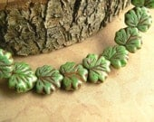 Green Czech Glass Maple Leaf Beads Opaque Avocado Red Brown Picasso, 10x13mm (10)