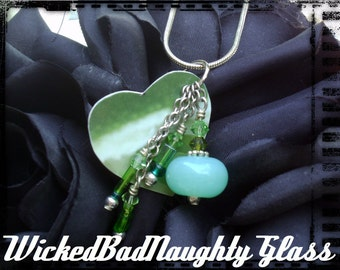 WBN Green UpCycled Chic Lampwork Glass Necklace