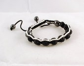 Shamballa bracelet Black White Organic Pave Rhinestones Swarovski- Fits up to 7.5 inches wrist