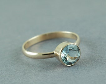 Gold Aquamarine Ring, Alternative Engagement, Diamond Alternative, Round Cut Stone, Solid 18K Gold, Made to Order, Free Courier Shipping