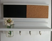 Wood  Wall Shelf Cork & Blackboard Bulletin Board Message Center Wedding White French Country
