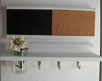 Wood  Wall Shelf Cork & Blackboard Bulletin Board Message Center Wedding White French Country