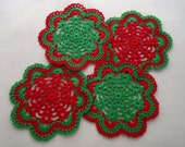 Christmas Doilies Coasters Red Green Thread Crochet Art, Christmas in July Sale
