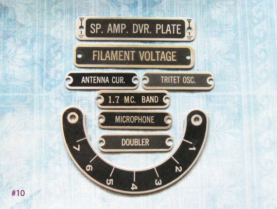 Tube Radio Tag Plates Industrial ID Number Dial Part Antique Victorian Ephemera Diy Jewelry Altered Art Assemblage Steampunk