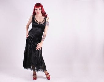 20s 30s Dress - Long Black Silk Gown With Dot Netting - Bow on Butt - Small