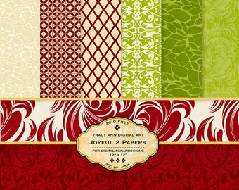 Green and Red Digital Paper pack for invites, card making, digital scrapbooking