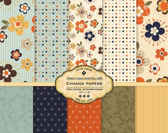 Autumn Digital Paper pack for invites, card making, digital scrapbooking -  Change