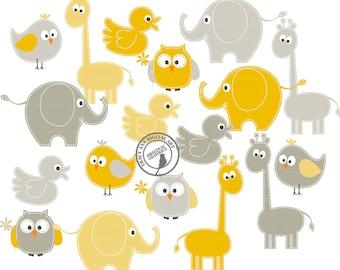 Yellow and Grey Baby animal clipart -  giraffe elephant clip art  - Set 4