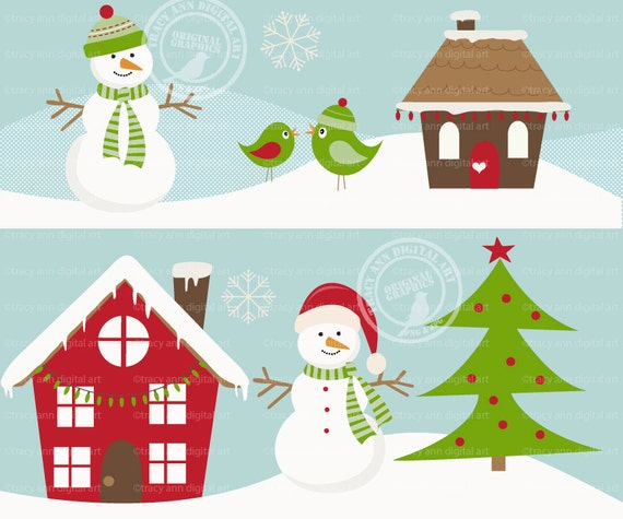 Items similar to Christmas Scene Winter Set, Snowman, Tree ...