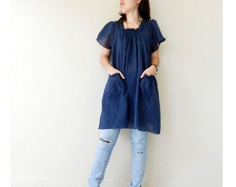 Custom Made Blue Soft Cotton Boho Smock Around Neck Blouse Short  Tunic Dress S-L (H)