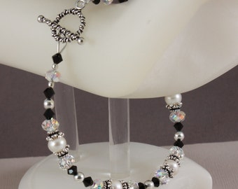 Black and White Elegance bracelet - longer length
