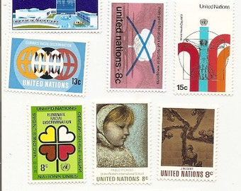 50 Vintage Unused UNITED NATIONS STAMPS