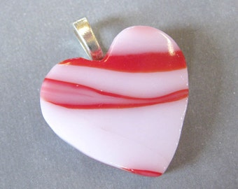 Heart Pendant, Pink and Red Heart, Glass Heart Jewelry, Love Jewelry- Sweetie - 544 -2