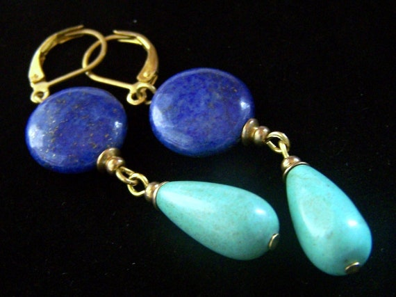 Natural Turquoise Drop and Lapis Lazuli Earrings with Leverbacks Handmade