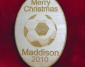 FOR MELISSA - 10 Personalized wooden Christmas soccer ball  2015 ornament