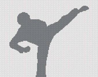 INSTANT DOWNLOAD Chella Crochet Tae Kwon Do Kicks Martial Arts Crochet Cross Stitch Knit Pattern Graph .PDF for Afghan