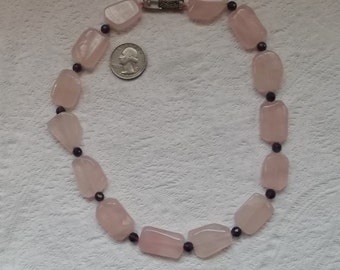 Lightly Faceted Rose Quartz and Faceted Amethyst and Sterling Silver Hand Knotted  Necklace