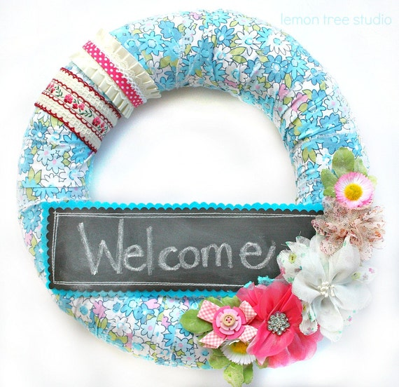 SALE -- See Shop Announcement for Details -- Say it -- Whimsical Write On Wreath (Chalkboard Embellished)