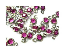 9 Vintage channel Swarovski connector beads 2 self loops fuschia pink in silver color metal