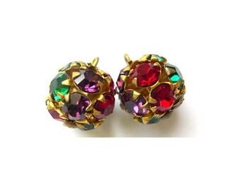 2 Vintage SWAROVSKI dangling BEADS 11mm crystal purple, red, green translucent rhinestones in brass setting- RARE