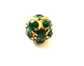 Vintage Swarovski crystal ball bead 15mm, green rhinestones in brass setting- RARE