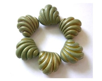 6 Vintage beads green plastic with stripes, 20mmx21mm